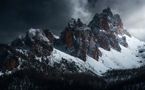 Картинка лес, небо, облака, снег, деревья, горы, тучи