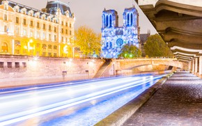 Картинка ночь, огни, Франция, Париж, Собор Парижской Богоматери