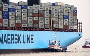 Картинка Море, Борт, Контейнеровоз, Два, Контейнера, Maersk, Maersk Line, Буксир