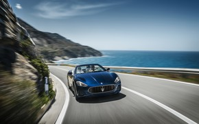 Картинка car, Maserati, girl, logo, sky, sea, woman, man, asphalt, Maserati GranCabrio