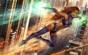 Обои энергия, девушка, волосы, рыжая, girl, alien, fly, face, hero, DC Comics, Tamaran, Teen Titans, starfire