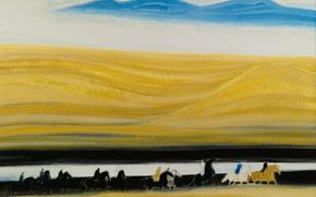 Картинка пейзаж, картина, лошади, всадники, Голубые Горы, Andre Brasilier
