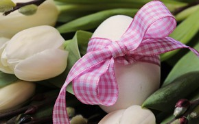 Картинка Цветы, Тюльпаны, Пасха, Яйца, Букет, Бутоны, Праздник