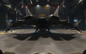 Обои станция, Gladius, ангар, звездолет, Star Citizen