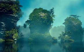 Картинка вода, скалы, растительность, водоём, Green Rocks