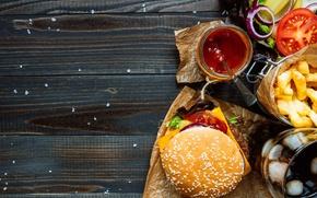 Обои булочка, котлета, гамбургер, помидор, сэндвич, hamburger, fast food, фастфуд, салат, tomatoes, meat