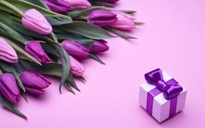 Обои букет, тюльпаны, love, розовые, бант, fresh, pink, flowers, romantic, tulips, gift, purple