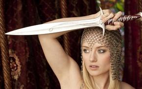 Картинка модель, меч, кольчуга, tatiana, titania lynn