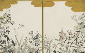 Картинка 1940, Цугухару, Фудзита, Цветы (две панели ширмы), масло и сусальное золото
