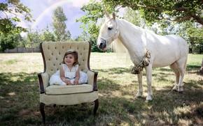 Картинка лошадь, кресло, девочка