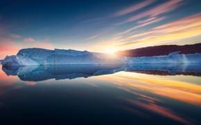Картинка море, восход, рассвет, айсберг, Гренландия