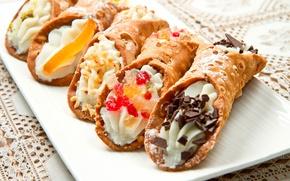 Картинка крем, десерт, вафли, трубочки