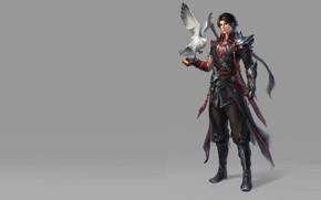 Картинка оружие, птица, воин, арт, парень, fantasy, пет, geme, помощник, Moky lin, 2D ConceptArt