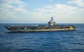 Картинка море, небо, авианосец, USS Carl Vinson, (CVN 70)