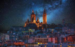 Обои млечный путь, звезды, Монмартр, Париж, Франция, ночь, огни