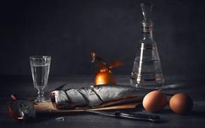 Картинка яйца, рыба, лук, стопка, закусон