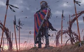 Картинка небо, трава, существо, vagrant umbrella