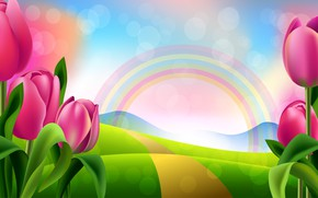 Обои яркость, тюльпаны, рисунок, радуга, цветы