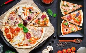 Обои Italian, мясо, специи, соус, pizza, сыр, пицца, tomato, тесто, шампиньоны, овощи, выпечка, ingredients, ассорти, помидоры