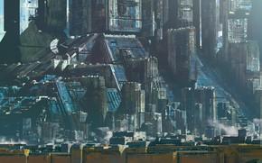 Картинка сооружения, мегаполис, Blue city, Little tribute, Master Syd Mead