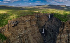 Картинка водопад, ущелье, Россия, Путорана