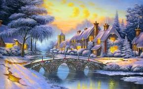 Обои зима, небо, снег, мост, река, улица, дома, вечер, Alexander Kalinin