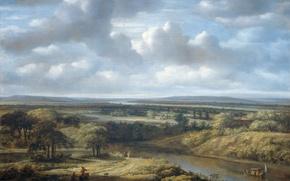 Обои Речной Пейзаж, холст, масло, Филипс Конинк, картина