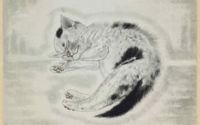 Картинка спящий котенок, 1930, цветной офорт, Цугухару, Фудзита, хмурый, гравюра