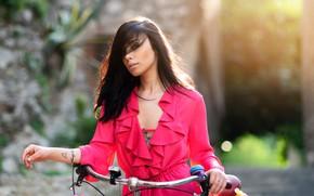 Картинка солнце, цветы, велосипед, модель, портрет, макияж, платье, прическа, шатенка, красотка, боке, Jessica, Nicola Davide Furnari
