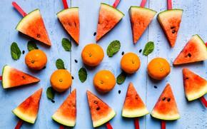 Картинка ягоды, Арбуз, цитрусы, мандарины