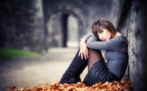Картинка листья, юбка, макияж, ножки, причёска, Cyrielle