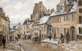 Картинка улица, дома, картина, городской пейзаж, Камиль Писсарро, Понтуаз. Дорога в Жизор Зимой