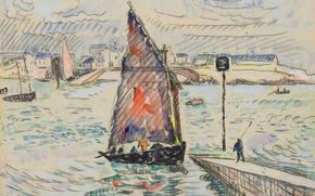 Картинка лодка, рисунок, акварель, парус, Поль Синьяк, Порт-Луи