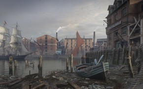 Картинка город, лодка, здания, парусник, гавань, Thames depthneeded, Dmitry Kremiansky