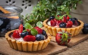 Обои клубника, tart, sweet, berries, delicious, ягоды, черника, корзинка, dessert, десерт, cream, тарталетка