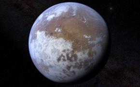 Обои космос, планета, марс, ледяная