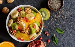 Обои банан, завтрак, фрукты, апельсин, орехи, гранат, киви, фруктовый салат