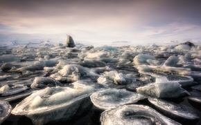 Картинка море, туман, лёд, Jökulsárlon Lagoon