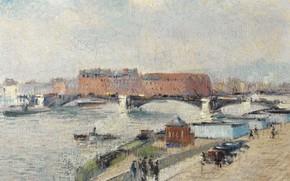 Картинка мост, река, дома, картина, городской пейзаж, Гюстав Луазо, Gustave Loiseau, The Docks. The Bridge of …