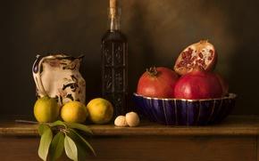Картинка бутылка, лимоны, гранат
