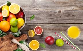 Обои лайм, стакан сока, напиток, грейпфрут, фреш, лимон