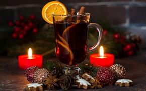 Картинка праздник, шары, свечи, печенье, цитрус, напиток, гвоздика