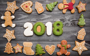 Картинка Christmas, food, wooden, 2018, New Year, holiday, sweets, cookies