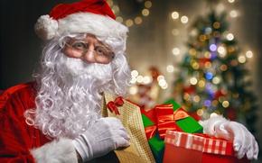 Картинка Новый Год, Рождество, merry christmas, decoration, christmas tree, gifts, santa claus