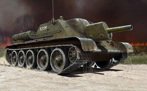 Картинка САУ, СУ-122, советская самоходно-артиллерийская установка