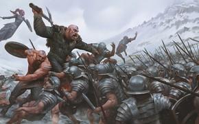 Картинка война, волк, меч, арт, копье, битва, доспех, викинги, римляне