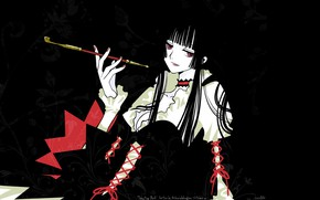 Картинка девушка, трубка, черный фон, xxxHolic