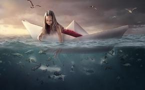 Картинка море, вода, рыбы, птицы, чайки, девочка, кораблик