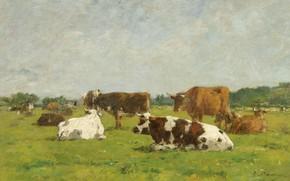 Обои Коровы на Пастбище, картина, Eugene Boudin, Эжен Буден, животные