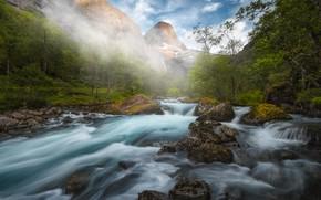 Картинка лес, горы, река, камни, Норвегия, Norway, Река Истра, Isterdalen Valley, Долина Истердален, Istra River